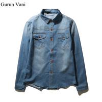 2016 Men Cotton Shirt Denim Brand Men S Long Sleeve Denim Shirts 5XL Pocket Designer Mens
