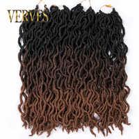 VERVES Faux Locs bouclés Crochet tresses 20 pouces 24 racines/paquet, Locs twist Ombre synthétique tressage extensions de cheveux noir, brun