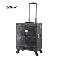 Letrend New Black Crocodile Rolling Women Luggage Spinner Cosmetic Case Leather Wood Trolley Carry On Suitcases