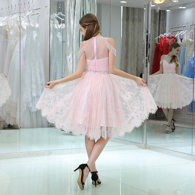 9246f936104 placeholder Short Homecoming Dresses 2018 A Line Scoop Pink Beaded Crystal  Lace Knee Length 8th Grade Graduation
