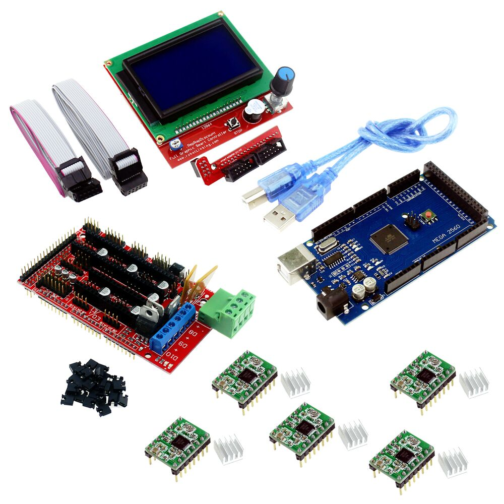 New 3D Printer Kit Mega 2560 R3 + 1pcs RAMPS 1.4 Controller + 5pcs A4988 Stepper Driver Module / RAMPS 1.4 12864 LCD Control new mega 2560 ramps 1 4 controller 4pcs a4988 stepper driver module for 3d printer kit for arduino reprap
