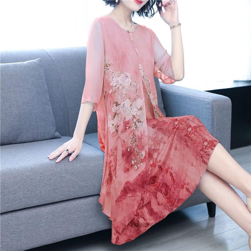 Robe en mousseline de soie pour femmes été nouvelle impression lâche à manches mi-longues robe a-ligne printemps été qualité demi manches robe