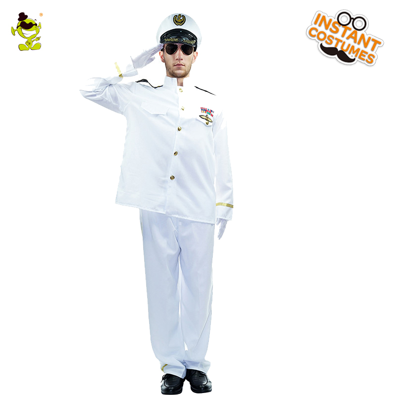 Pilot Man Costume Men's Pilot Role Play Famcy Dress Adult Halloween Carnival Christmas Masquerade White Suit