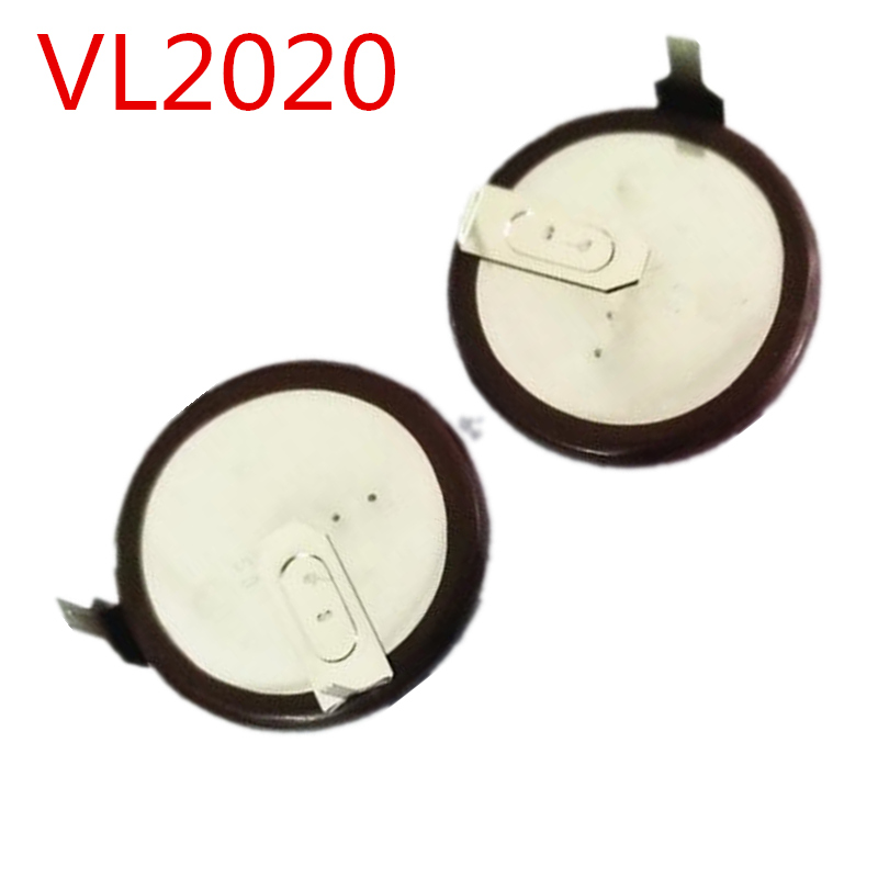 2pcs lot Brand New VL2020 VL 2020 With Legs 90 degrees Rechargeable Button font b Battery