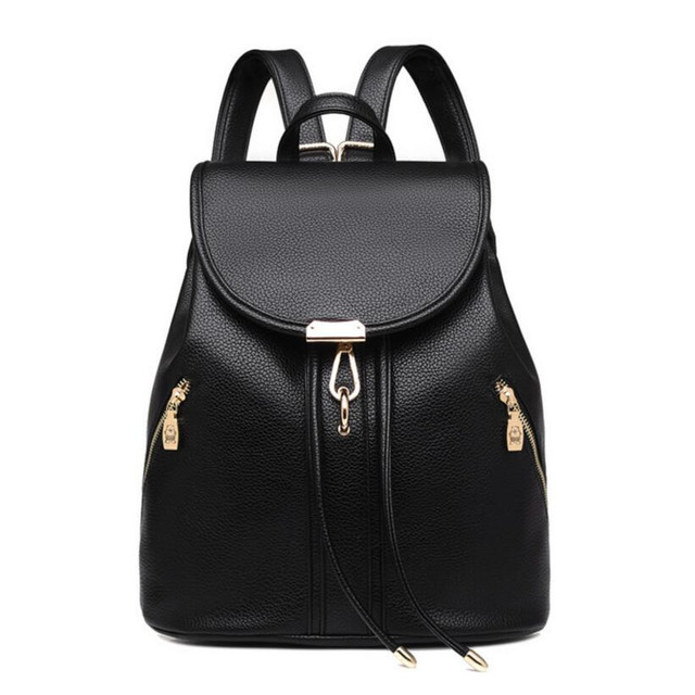 Girls fashion black leather backpack women travel bags small backpacks for  teenage girls PU leather shoulder bag girl bagpack d1ab3afb3aab9