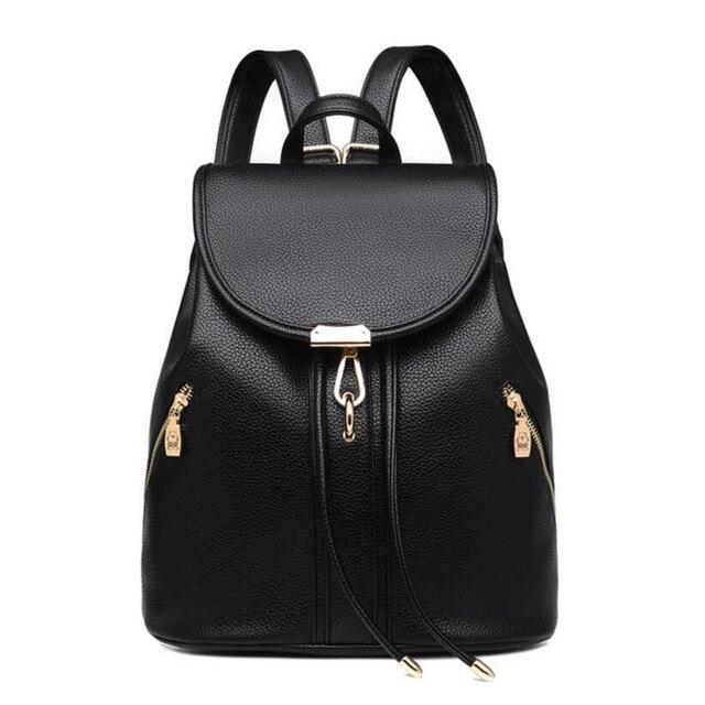 f0f931021f Ragazze di modo donne zaino borse da viaggio in pelle nera zainetti per le  ragazze adolescenti