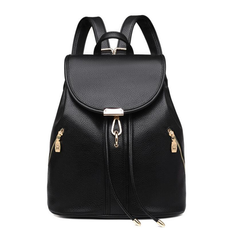 black drawstring leather backpack women travel bags female casual bag ladies shoulder bag for notebook girl