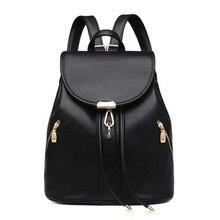 Черный шнурок кожаный рюкзак женщины дорожные сумки женщин повседневная сумка дамы сумка для ноутбука девушка школьный bagpack