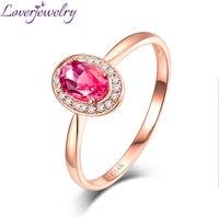 Loverjewelry Prawdziwe Litego 14 K Złota Róża Różowy Tourmaline Diamentowy Pierścionek Zaręczynowy Kamień Biżuterii Dla Kobiet