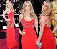 Sexy Red Celebrity Dress 2017 Oscar Awards Red Carpet Sheath Long Red Evening Gowns Custom Made