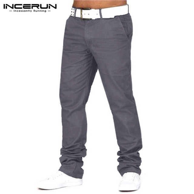 INCERUN Smart Business Autumn Men Causal Pants Cotton Hip Hop Chinos Trousers Straight Full Length Joggers Sweatpants Brand 40