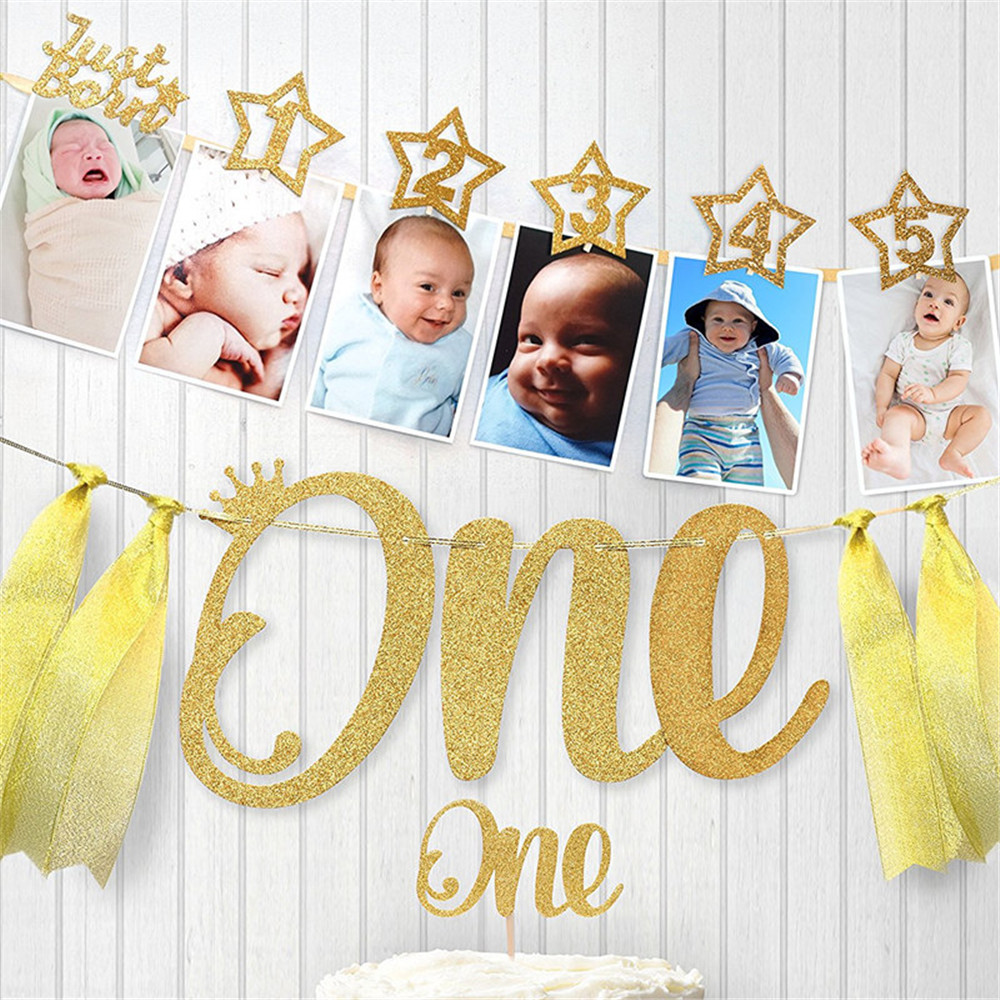 Cartoon Hat Birthday Photo Folder Photo Wall Display Flag For Cute Baby One Year Old 12 Months Kids Birthday Hat