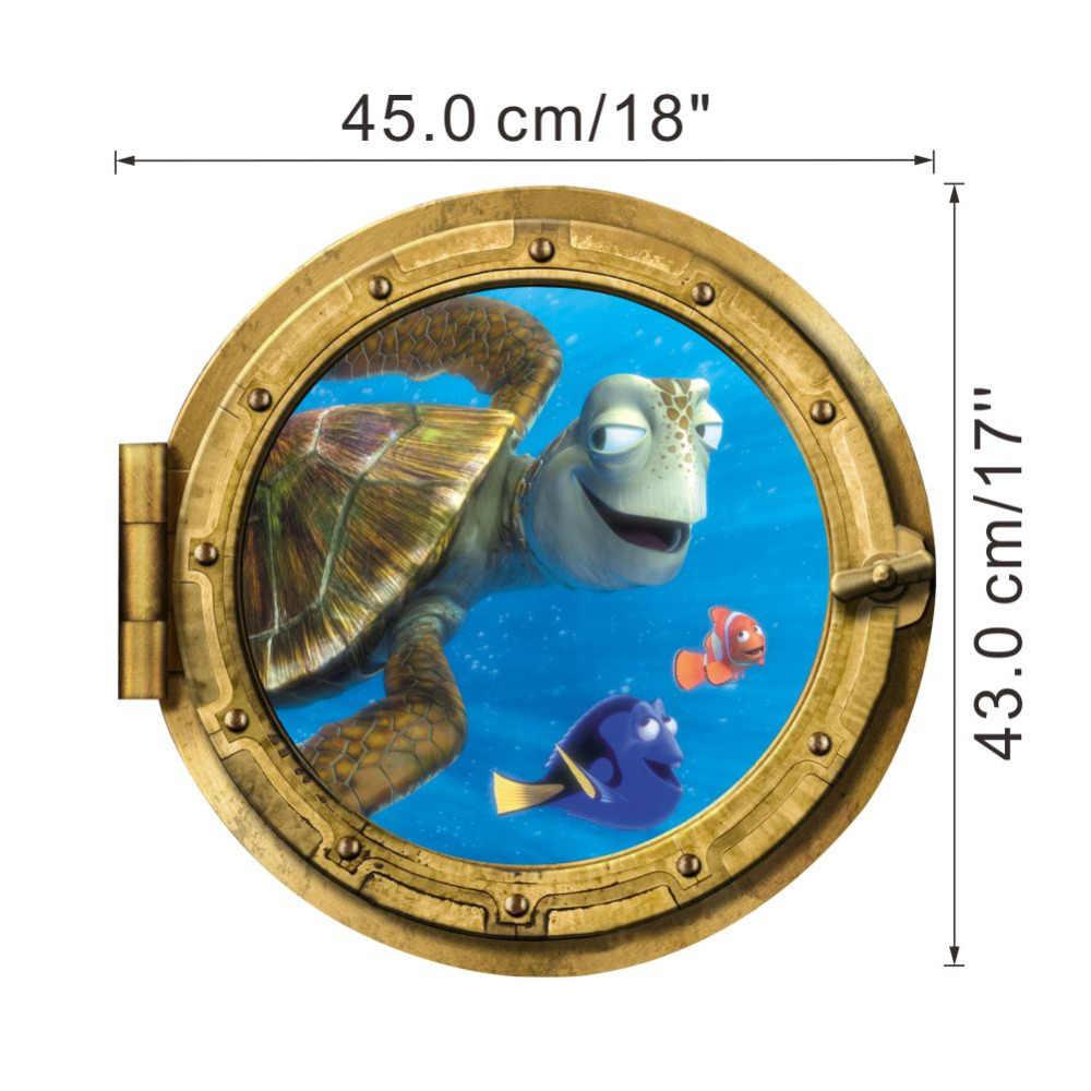 Océan vue tortue poisson 3d sticker mural salle de bain stickers mer mur art pour enfants chambres décoration pour la maison bricolage monde sous-marin
