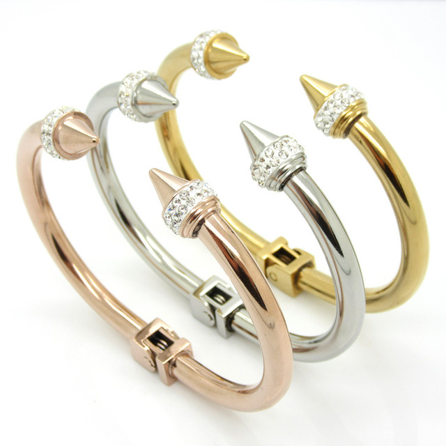 Fashion Crystal gold love Bracelet Stainless Steel H Bracelet punk little giant rivet conical tip titanium silver bracelet