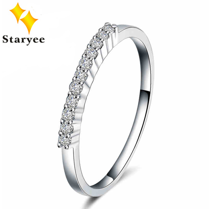 Fashion Genuine 18K Solid White Gold Wedding Band Diamond