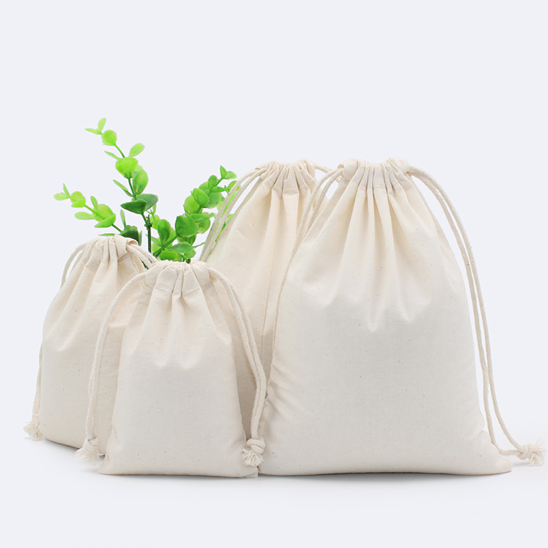 2pcs 130g Natural Pure White Cotton Eco font b Drawstring b font Pouch Packaging Gift font