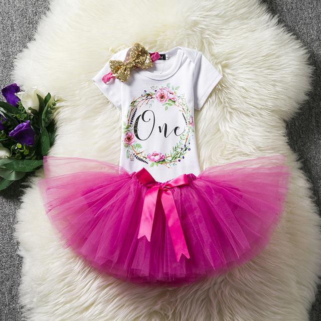 1 année D'anniversaire Robe Infantile robe Barboteuse Tutu Robe Bandeau Pas Cher Nouveau-Né Vêtements 12 Mois De Baptême Robe Enfant Robe