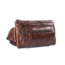 Bumbag Waist Pack Hip Hop Belt Bag Genuine Leather Men Fanny Small Pouch Bags for Mobile Wallet Bolso Cintura Hombre Brown