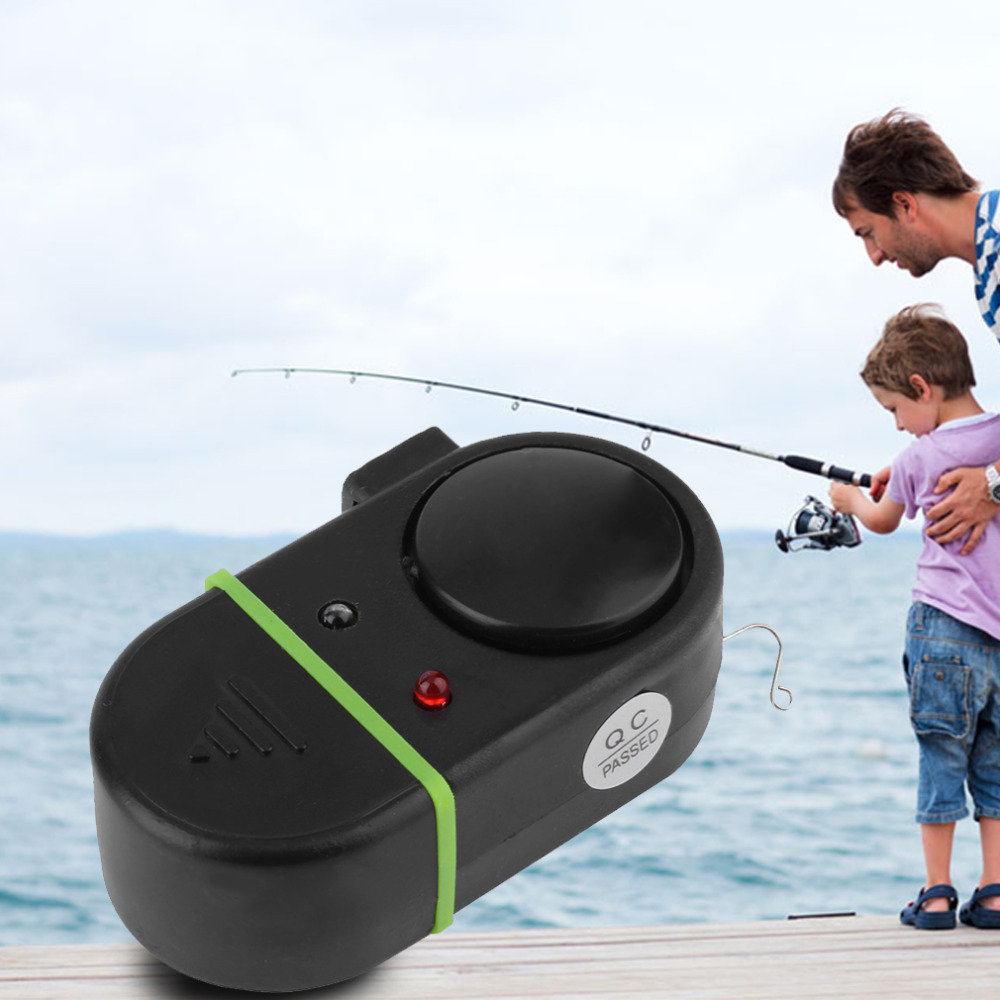 Electronic LED Light Fish Bite Sound Alarm Bell Clip On Fishing Rod NEW