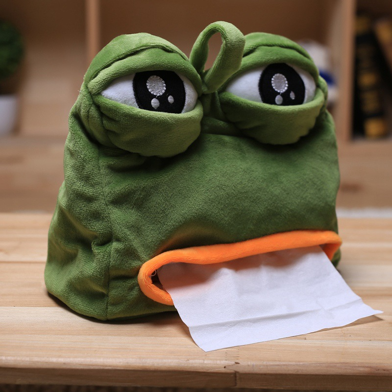 Creative Sad Frog Feels Bad Man Tissue Box Cover Paper Dispenser Tissues Case Home Decoration Funny Gift 20*21cm