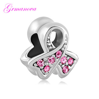 Pink rhinestone female breast cancer logo European beads DIY jewelry classic popular Fit Pandora Bracelet Women's DIY Jewelry image