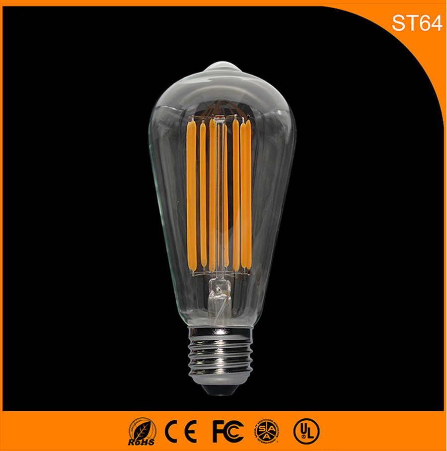 E27 B22 8W LED Bulb,ST64 Led Filament Glass Light Lamp, Warm White Energy Saving Lamps Light AC220V high brightness 1pcs led edison bulb indoor led light clear glass ac220 230v e27 2w 4w 6w 8w led filament bulb white warm white