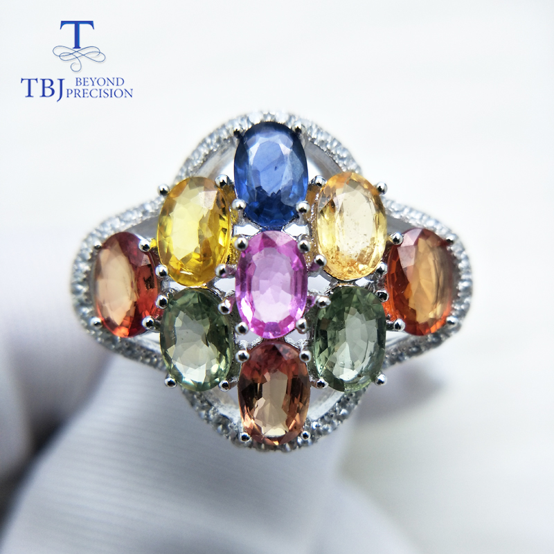 TBJ,Colorful Gemstone Ring with Natural 5.5ct Fancy color sapphire gemstone Ring in 925 sterling silver fine jewelry with box tbj delicate small ring with natural good color blue tanzanite gemstone lady ring in 925 sterling silver fine jewelry for women