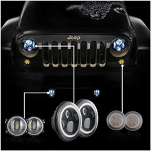 Angle eye set 7 Inch LED Headlight with 4 Inch Led Fog Light + Amber Front grill turn signal Wrangler Unlimited JK 4 Door 07-15