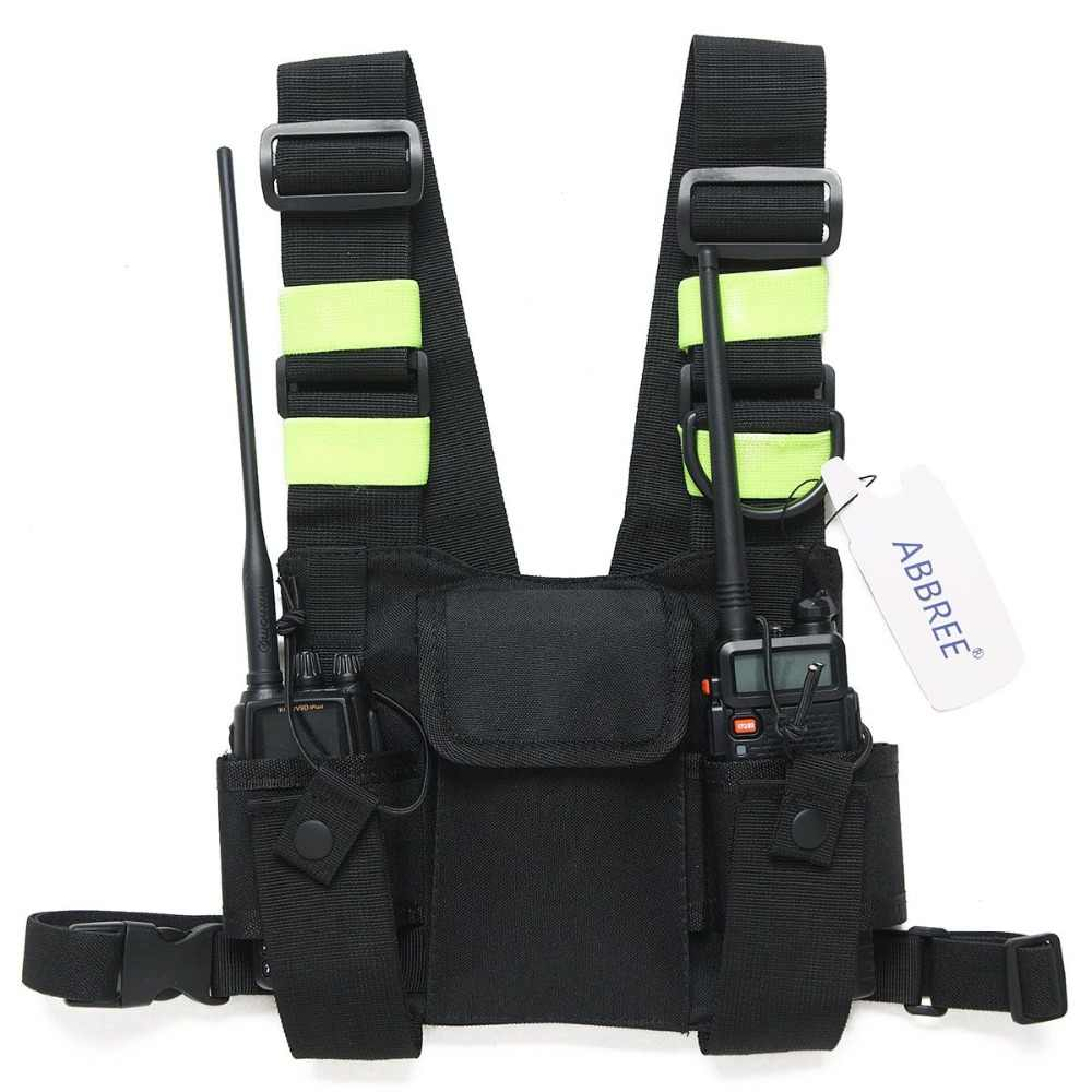 Abbree Harness Dada Depan Pack Model Membawa Case untuk Baofeng UV-5R UV-82 UV-9R UV-XR TYT TH-UV8000D MD-380 Walkie Talkie