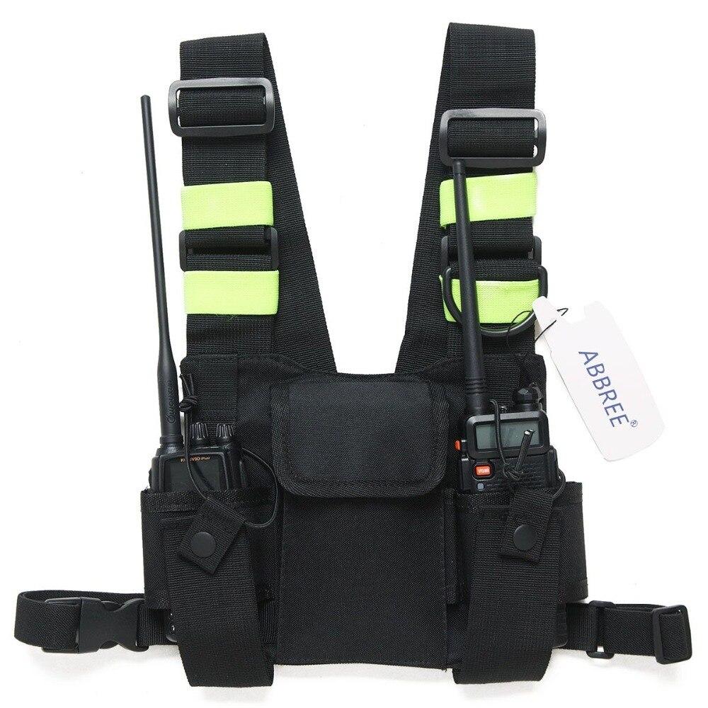 Abbree Poitrine Harnais Avant Pack Pochette Holster Carry Case pour Baofeng UV-5R UV-82 UV-9R UV-XR TYT TH-UV8000D MD-380 Talkie Walkie