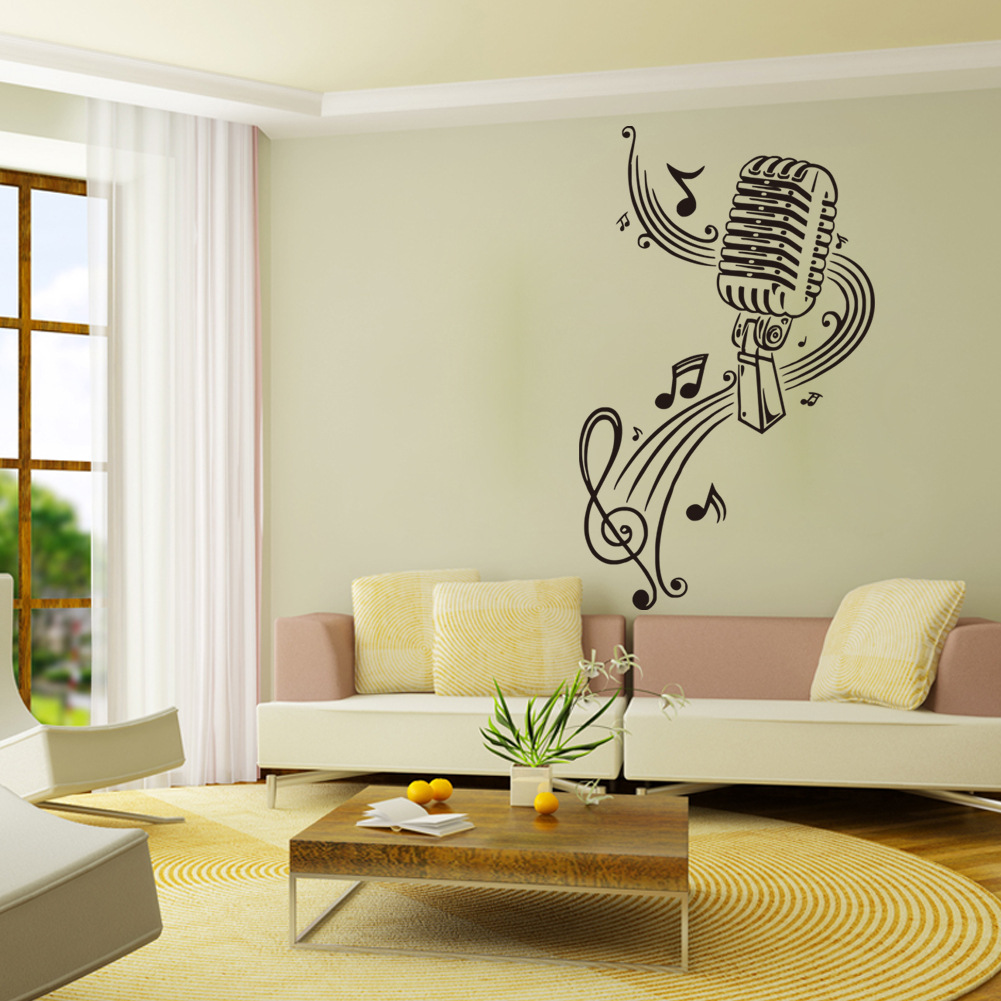 Poster design notes - New Wall Vinyl Sticker Decals Room Design Microphone Music Notes Wall Stickers Home Decor Poster Good