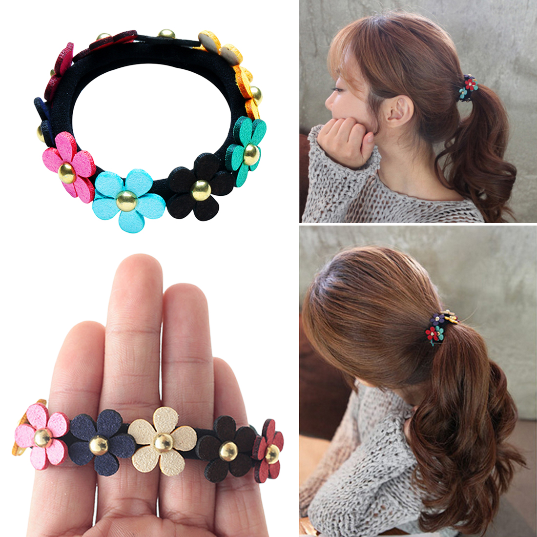 New Beautiful Girls Sweet Colorful Flowers Ponytail Holder Hair Rubber Band Rope Elastic Hair Bands Flowers Accessories