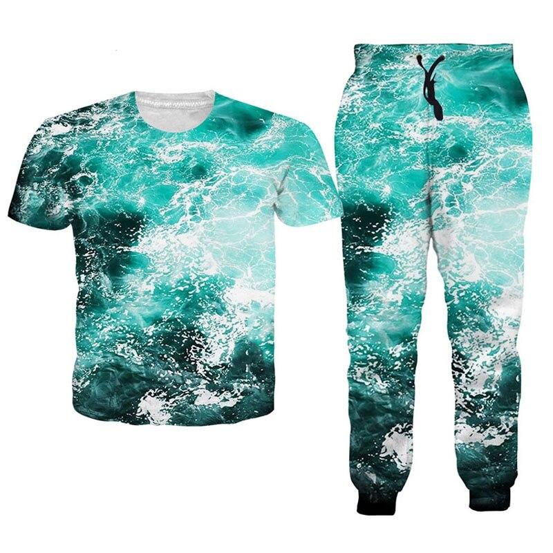 T Shirt Sweatpants Set Summer T Shirt With Jogger Women Men 2 Pieces Suit Short Sleeve T ...