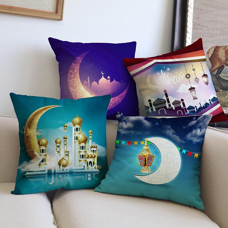 Cushion Cover Hospitable 45x45cm Muslim Ramadan Decoration For Home Cotton Seat Sofa Cushion Cover Classic Lantern Throw Pillow Cover Eid Mubarak Decor Home & Garden