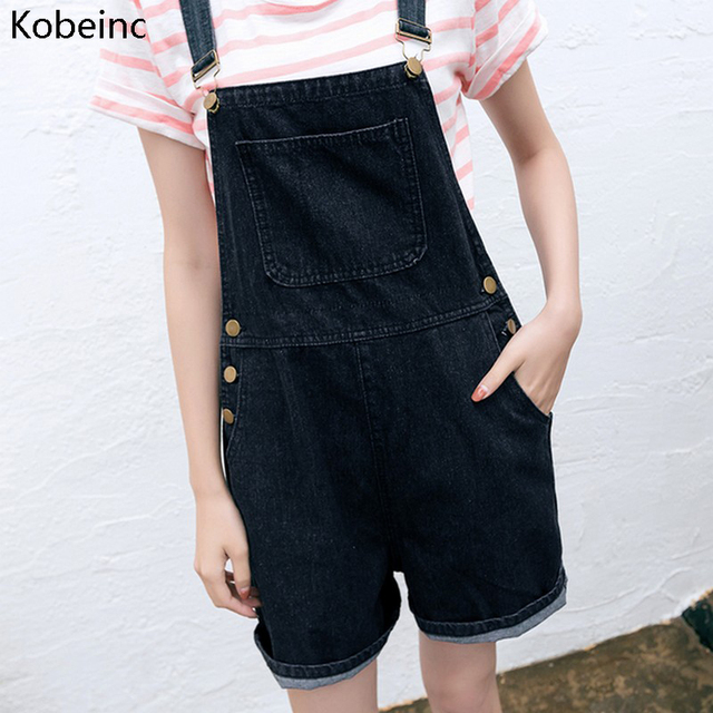 ae452d2547e Kobeinc Black Loose Adjustable Strap Rompers Women Denim Playsuits Summer  Casual Jeans Jumper Shorts All Match Overalls Playsuit