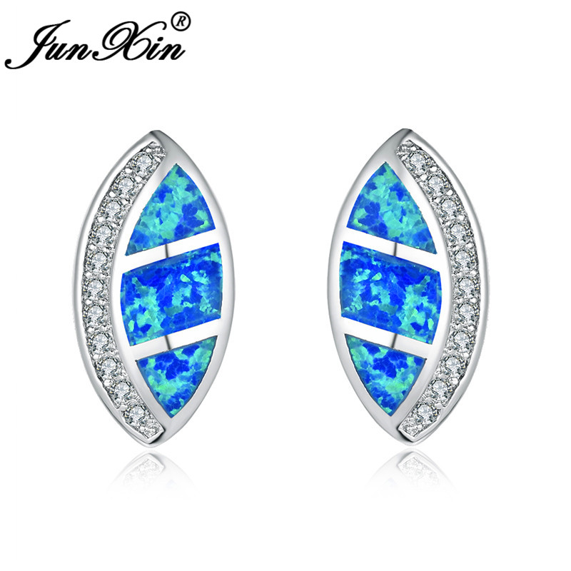 JUNXIN White Gold Filled Horse Eyes Stud Earrings For Women Rainbow Marquise Blue White Fire Opal Earrings Female Wedding CZ