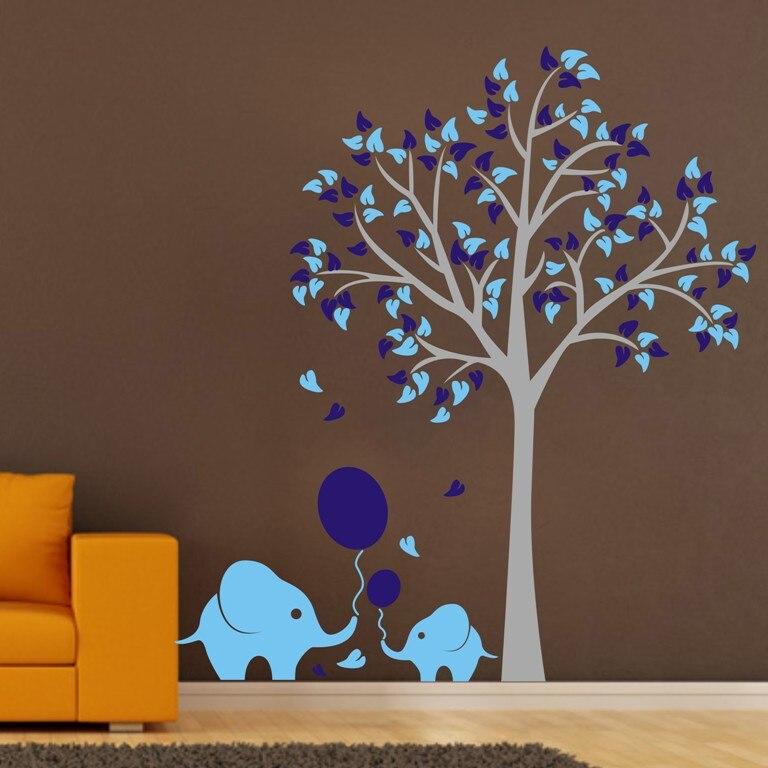 где купить Custom High Quality Large Elephant Tree Wall Stickers Removable Kids Nursery Home Wall Decals Art Mural Decor Wallpaper D376 по лучшей цене