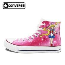 Розовый Converse Chuck Taylor женские мужские туфли пользовательские Сейлор Мун Дизайн ручной росписью обувь для мальчиков и девочек кроссовки Косплэй подарки