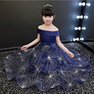 Los niños vestido de fiesta estrella azul lentejuelas vestido de baile Regalo de Cumpleaños de malla de patchwork de satén de la boda ropa de noche de un hombro