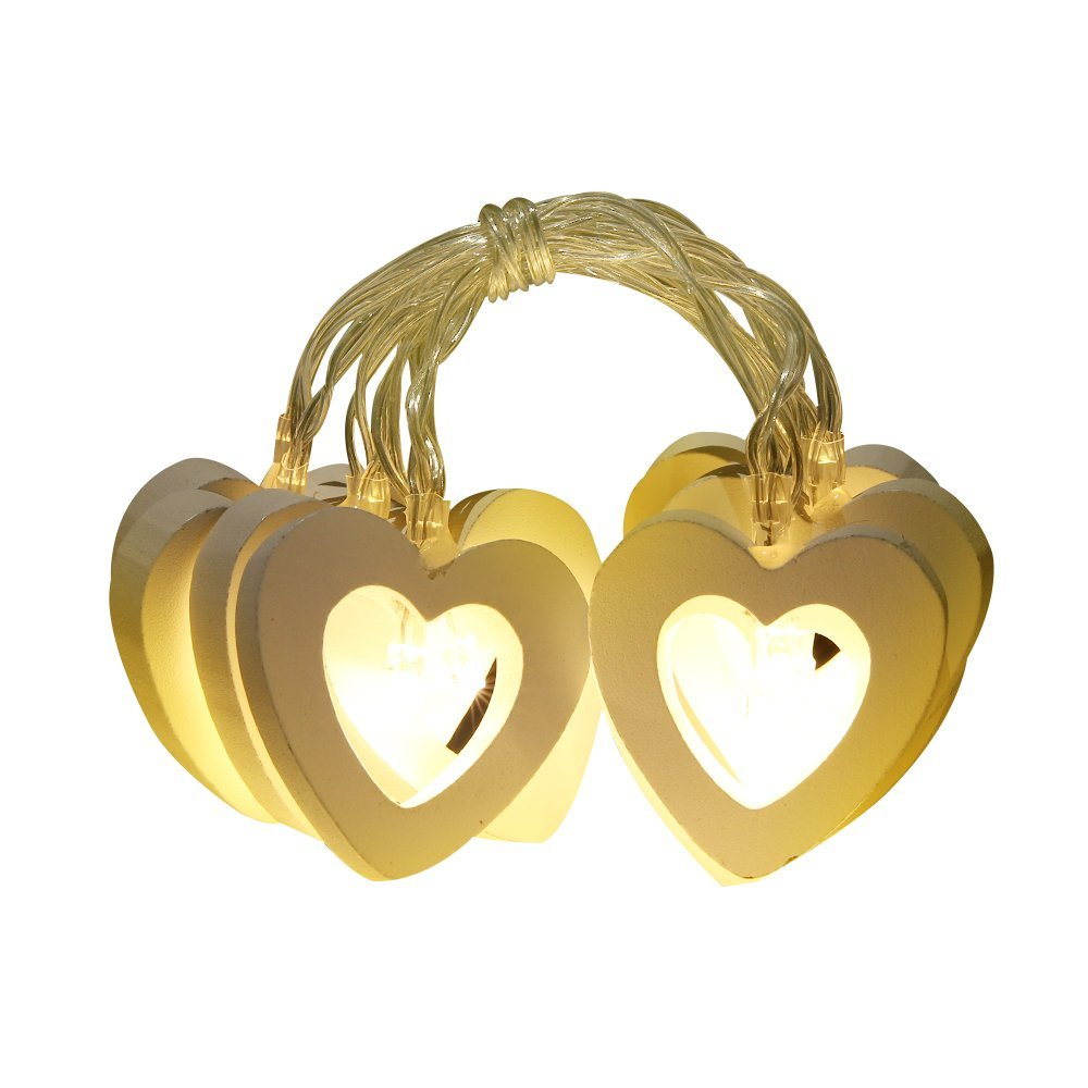 Led Heart String Light Wood Battery Powered 1M 10Leds Novelty Romantic LED String Light For Festive Birthday Wedding Party
