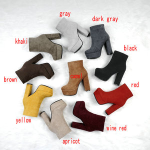 Image 2 - NEMAONE 2020 new top quality flock leather boots women high heels platform ankle boots for women round toe autumn winter shoes