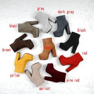 Image 2 - NEMAONE 2020 חדש למעלה איכות צאן עור מגפי נשים גבוהה עקבים פלטפורמת קרסול מגפי נשים בוהן עגול סתיו חורף נעליים