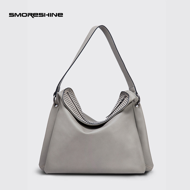 b0f92daae4ea SMORESHINE High quality soft leather women large shoulder bag female  Three-tier design hobos bag with rivet women s handbag tote