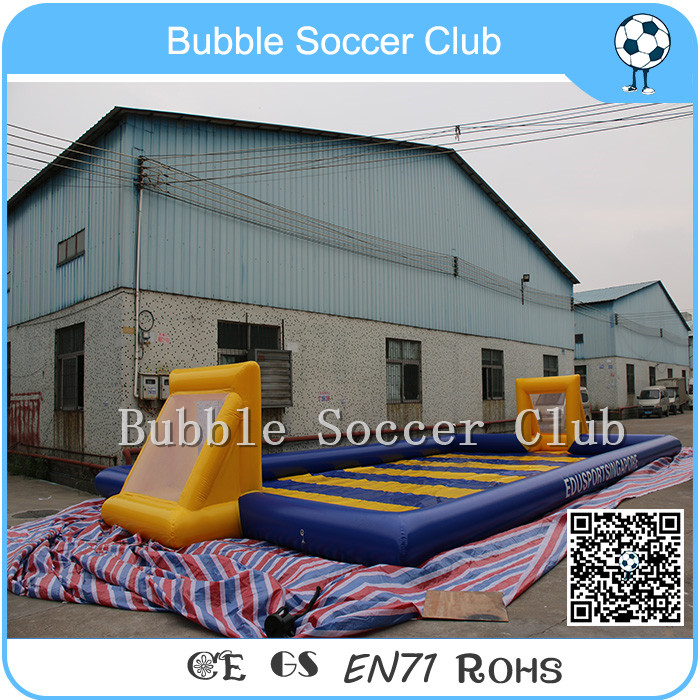 Free Shipping 14x7m Inflatable Football Arena Soap Football Field Inflatable Football Pitch Soccer Field