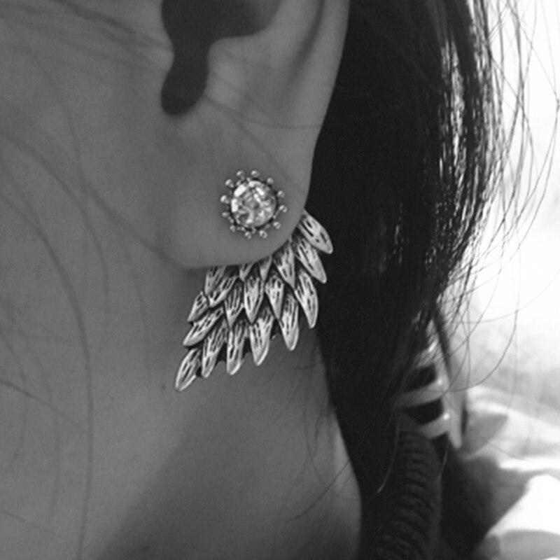 С украшением в виде кристаллов серьги с подвеской в виде цветка для Для женщин ювелирные изделия двусторонняя золото; серебро; сережки подарок для вечерние best friend» A55