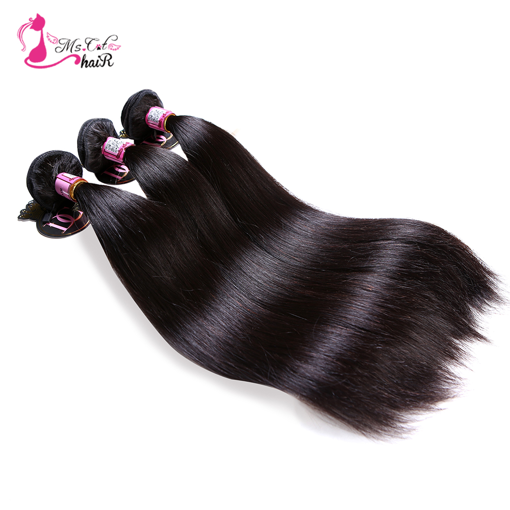Ms Cat Hair Brazilian Straight Hair 1/3/4 Bundles 100% Human Hair - Mänskligt hår (svart) - Foto 6