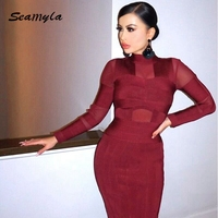 2016 New Wine Red Keen Length Women Winter Dresses Long Sleeve High Neck Sexy Mesh Bodycon