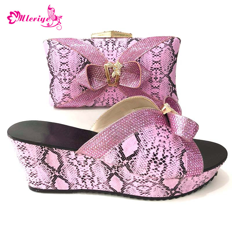 High Quality pink Color African shoes and bag set for party Women Shoes Matching Bag Set 2018 Italian shoe with matching bag stylish hemming chain and striped printing color matching voile scarf for women