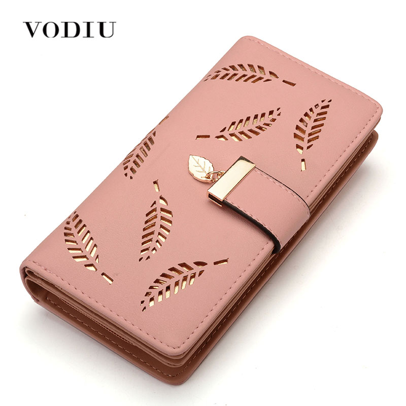 Women Wallet Female Purse Leather Women Wallet Card Holder Coin Purse Phone Wallet Cash Pocket Photo Clutch Bag Leaves Design Кошелёк