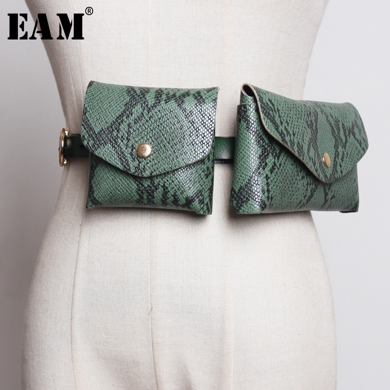 [EAM] 2020 New Spring Summer Pu Leather Personality Brief Mini Two Piece Bag Purse Long Belt Women Fashion Tide All-match JX958